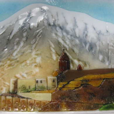 Kiln fired glass   Mount Ararat, sample detail by Melanie Kidd
