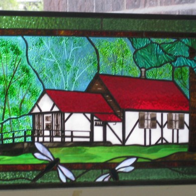 Commission | Dragonfly cottage, copper foil stained and fused glass panel | Melanie Kidd (2016)